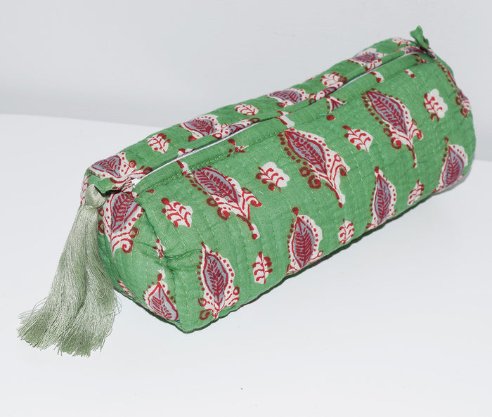Long Waterproof Cosmetic Bag | Green Leaves