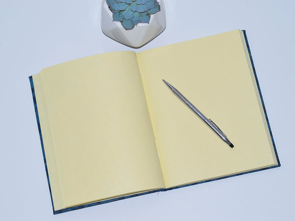 Handmade Paper Hardcover Journal | Crescent Dot Indigo