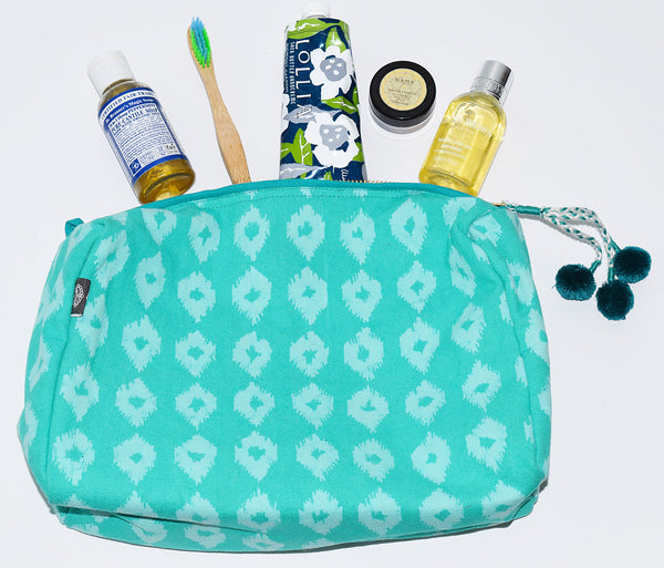 Large Canvas Toiletry Bag | Mini Ikat Teal