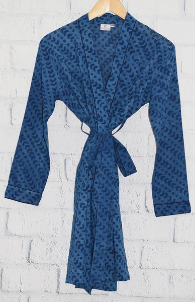 Austin Short Robe | Crescent Dot Indigo