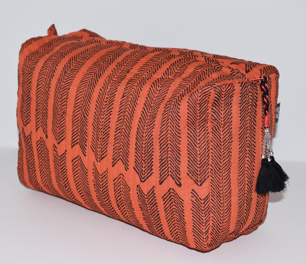 Large Cotton Toiletry Bag | Aiko Burnt Sienna