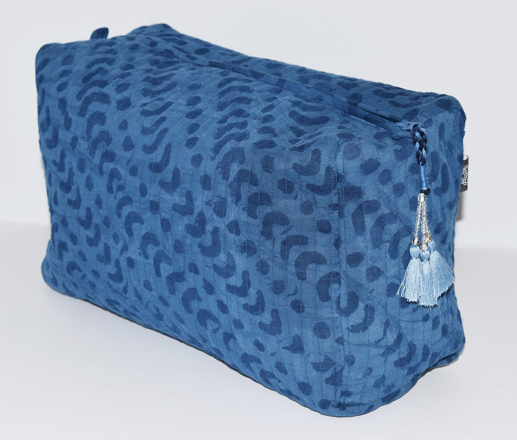 Large Cotton Toiletry Bag | Crescent Dot Indigo