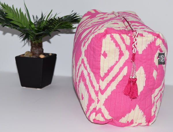Large Cotton Toiletry Bag | Kuta Ikat Fuchsia