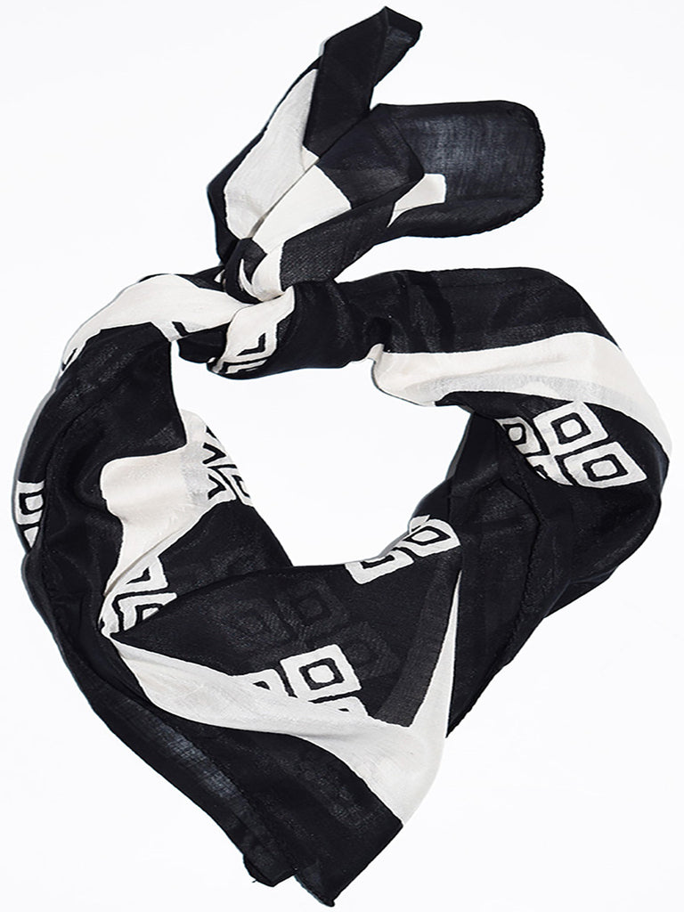 Frida Square Scarf | Black + White