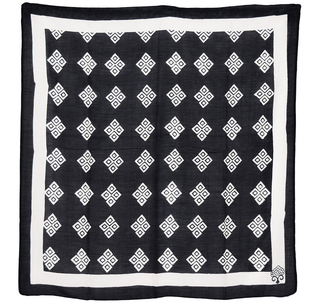 Cotton Silk Square Square Scarf | Frida Black