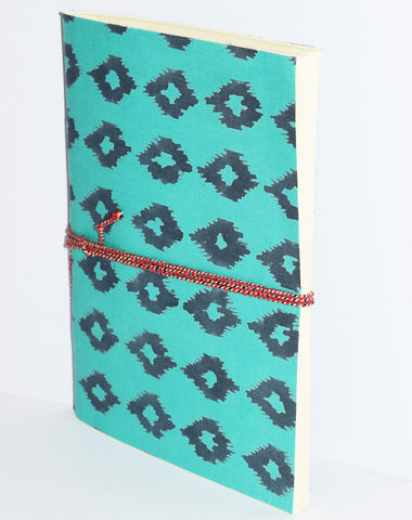 Handmade Softcover Paper Journal | Mini Ikat Teal