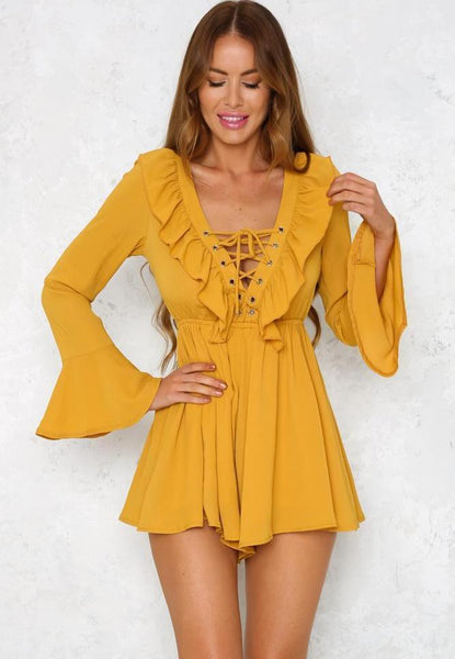 Kiss Me Quick Playsuit - Yellow