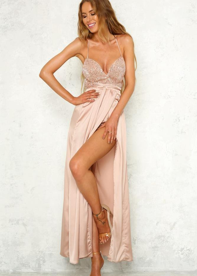 Moving Mountains Maxi Dress - Nude