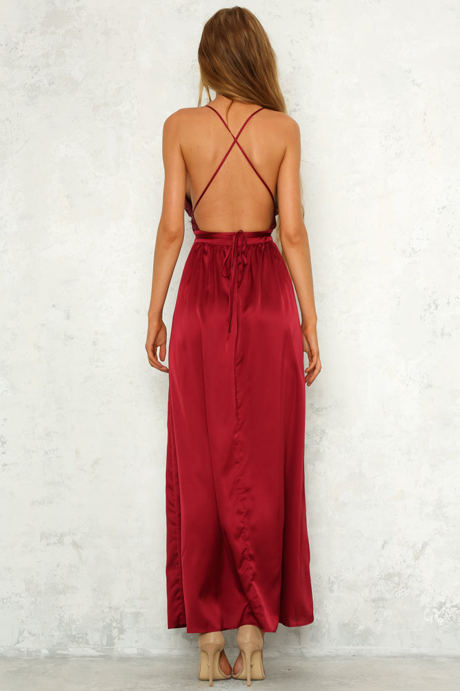 Moving Mountains Maxi Dress - Wine