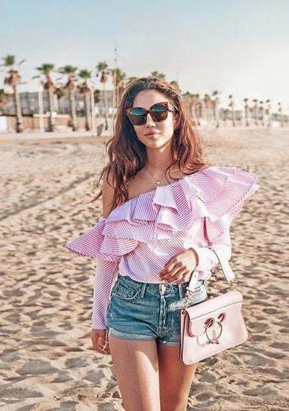 Ruffle Off-Shoulder Shirt
