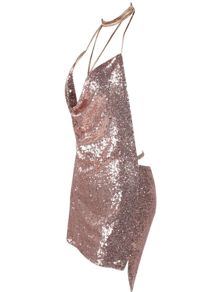 Kendall Sequin Dress Rose Gold - Lovecy - 6