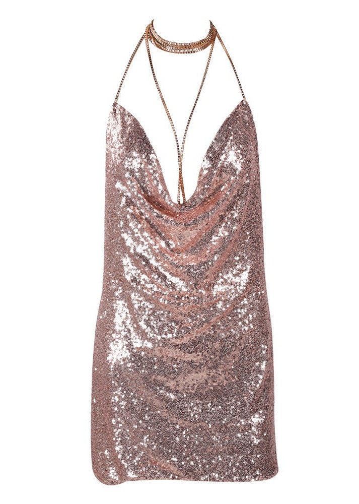 Kendall Sequin Dress Rose Gold - Lovecy - 7