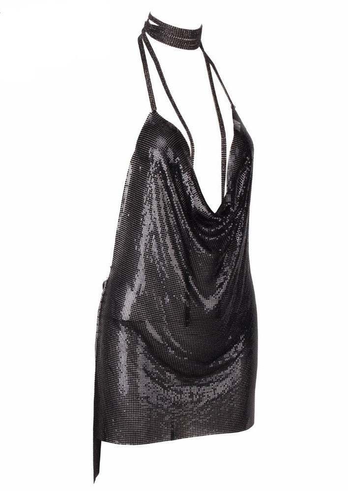 Kendall Metal Sequin Dress Black - Lovecy - 3