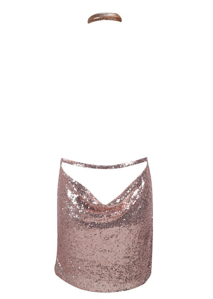Kendall Sequin Dress Rose Gold - Lovecy - 8