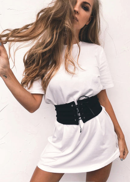 Kylie Belted Tee Dress White