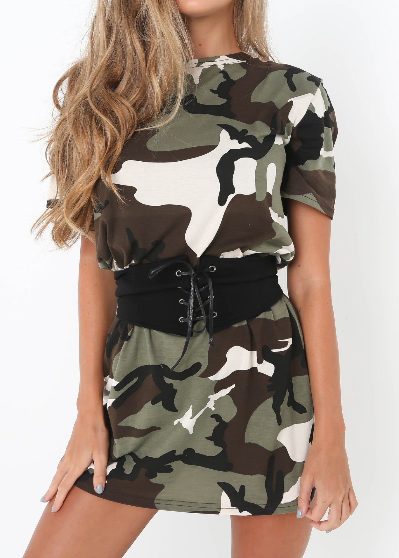 Kylie Belted Tee Dress Camo