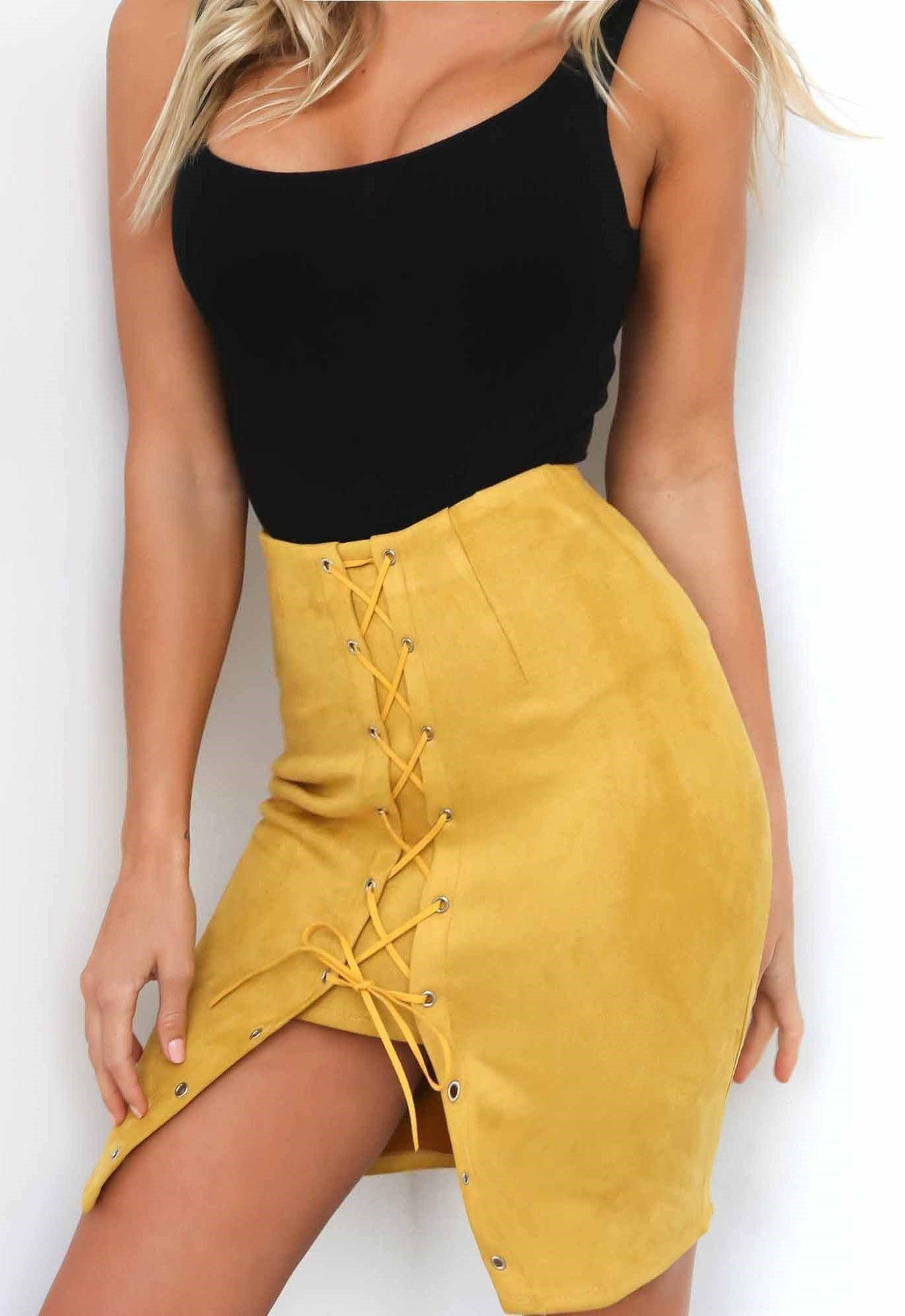 Kourtney Lace Up Skirt