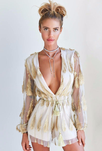 Feather Playsuit - Gold