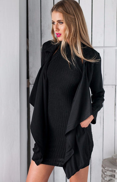 Short Black Belted Trench