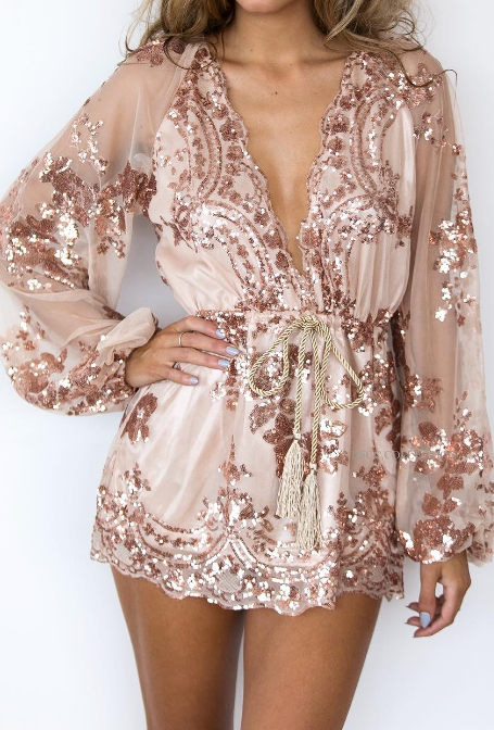 Lust Lux Playsuit Rose Gold - Lovecy - 3