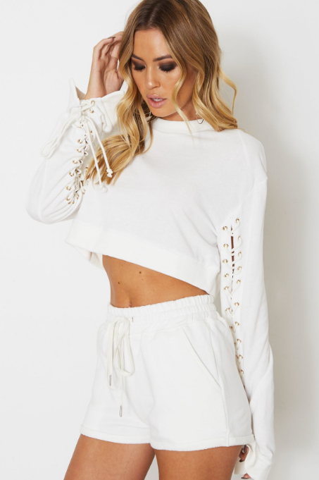 Everyday Cropped Sweater - White