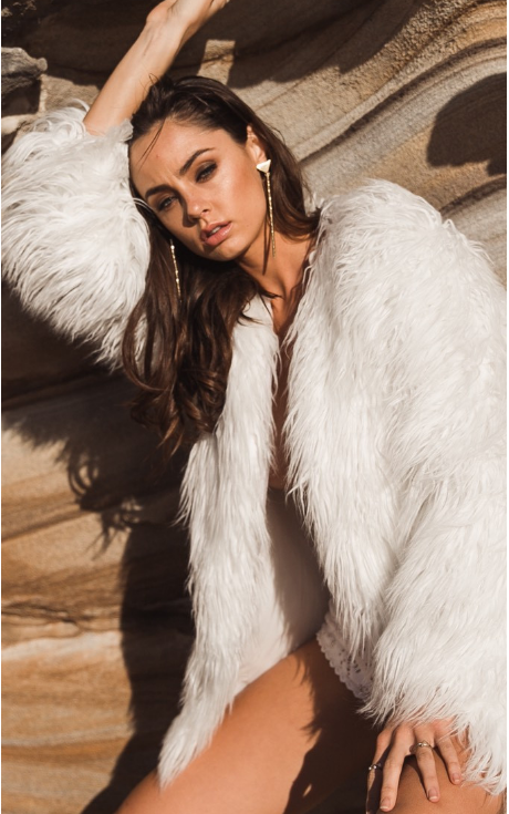 Portofino Faux Fur Jacket White - Lovecy - 2
