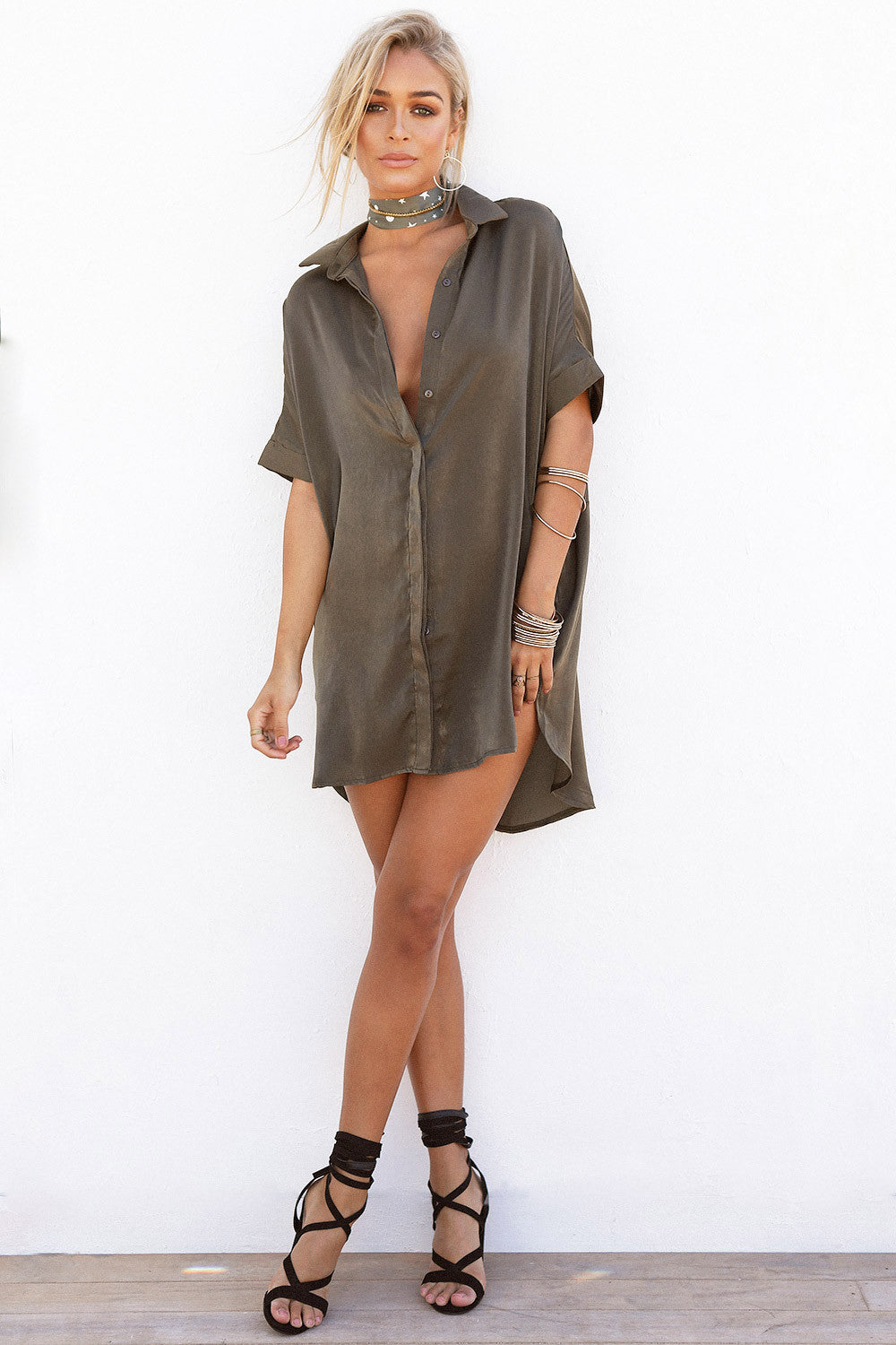 Silky Shirt Dress - Khaki - Lovecy - 4