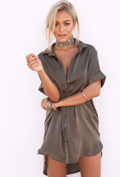 Silky Shirt Dress - Khaki