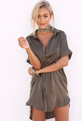 Silky Shirt Dress - Khaki - Lovecy - 1