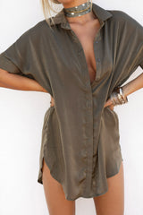 Silky Shirt Dress - Khaki - Lovecy - 3
