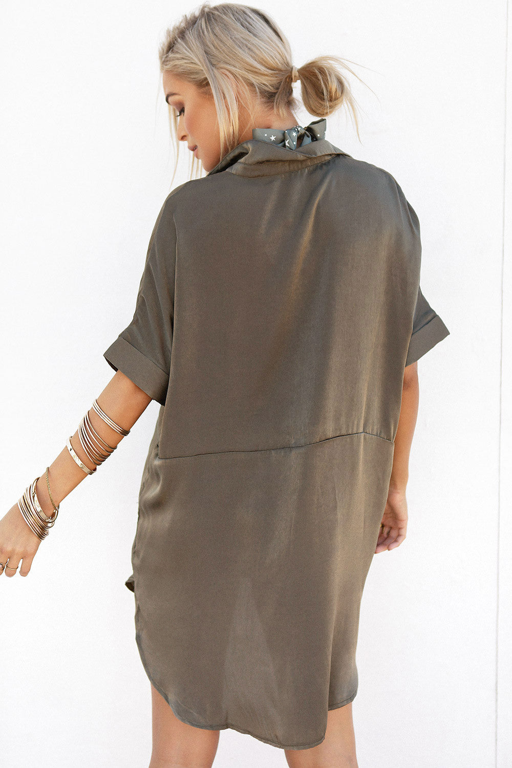 Silky Shirt Dress - Khaki - Lovecy - 5