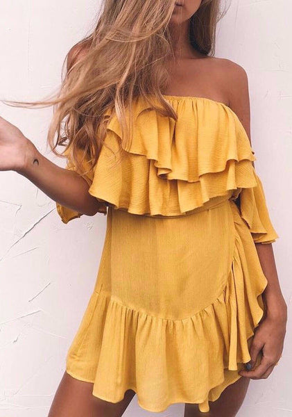 Becky Ruffles Dress - Yellow