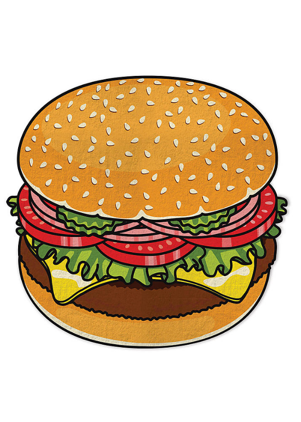 Round Towel - Burger – Lovecy
