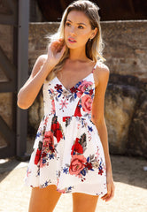 Floral Gaze Playsuit White - Lovecy - 1