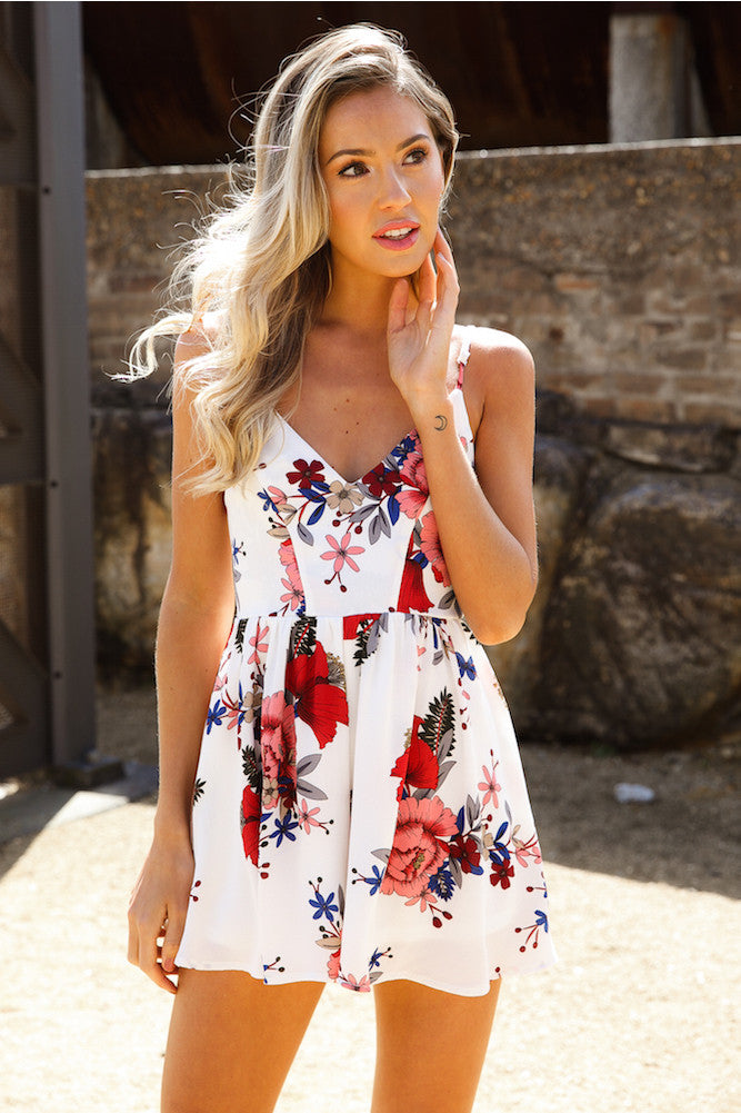 Floral Gaze Playsuit White - Lovecy - 2
