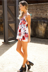 Floral Gaze Playsuit White - Lovecy - 4
