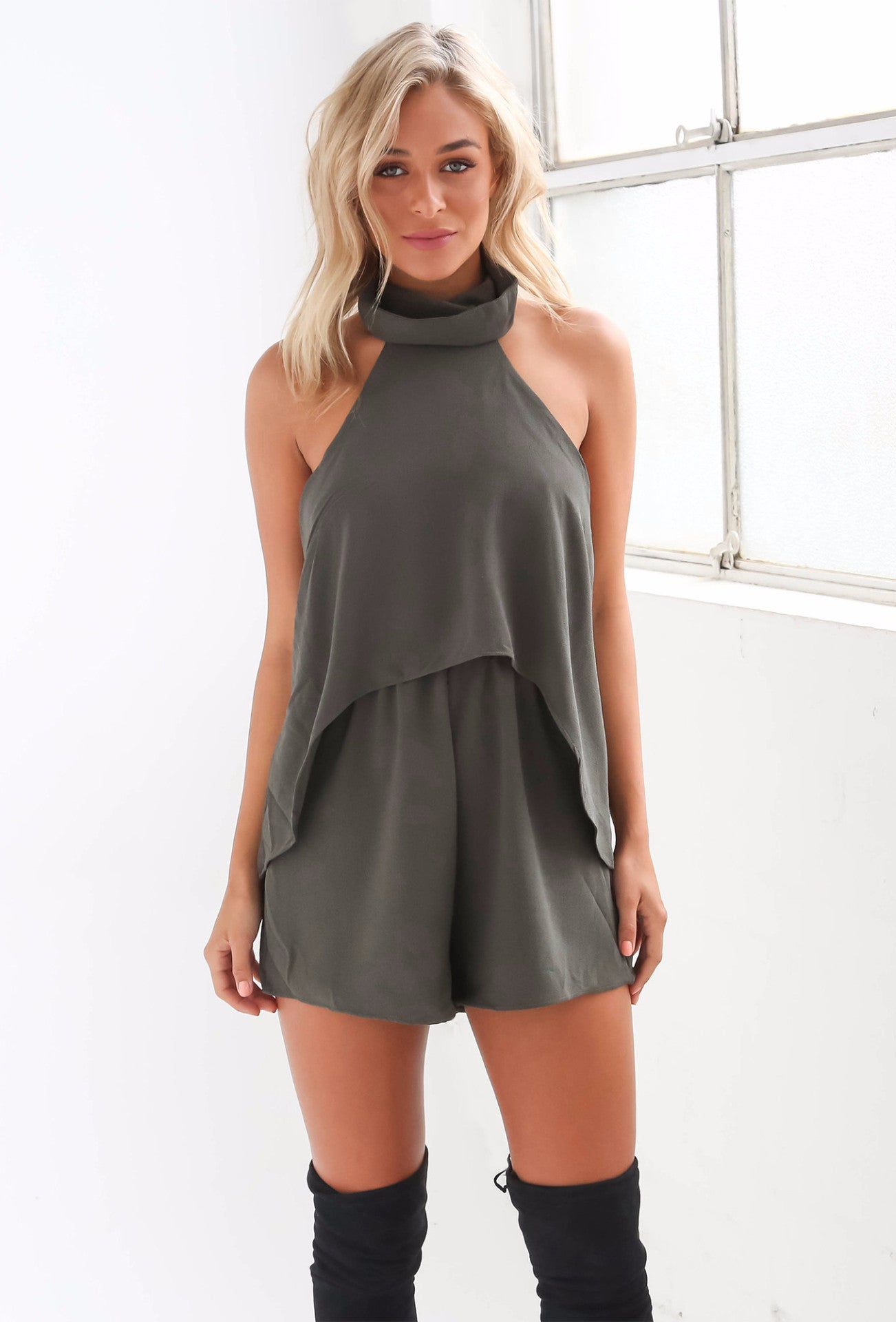 Another Chance Playsuit - Khaki - Lovecy - 1