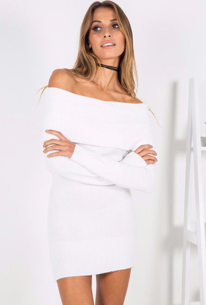Before The Storm Knit Dress White