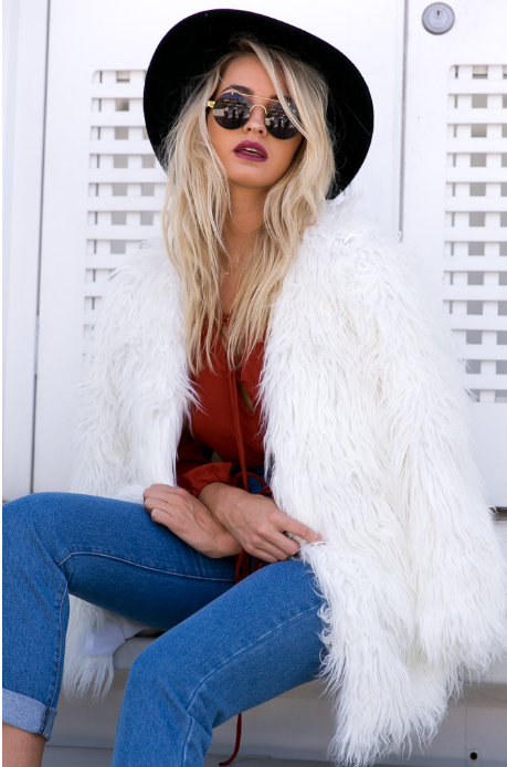 Portofino Faux Fur Jacket White - Lovecy - 1