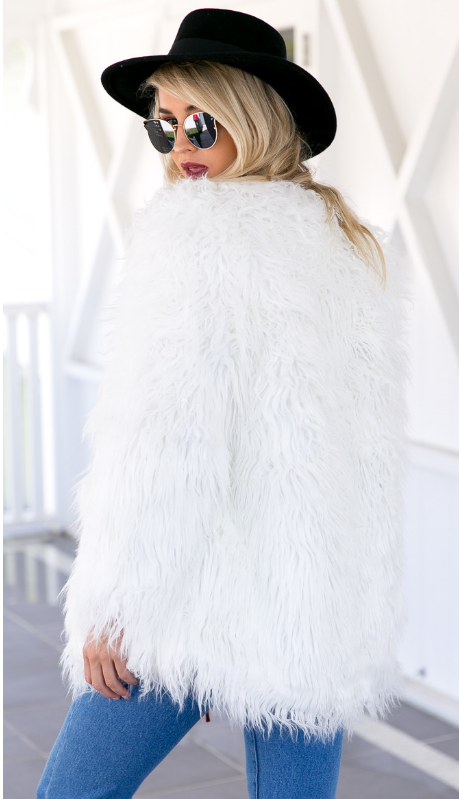 Portofino Faux Fur Jacket White - Lovecy - 5