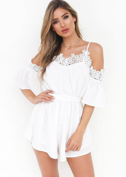 Sweet Tea Playsuit - White