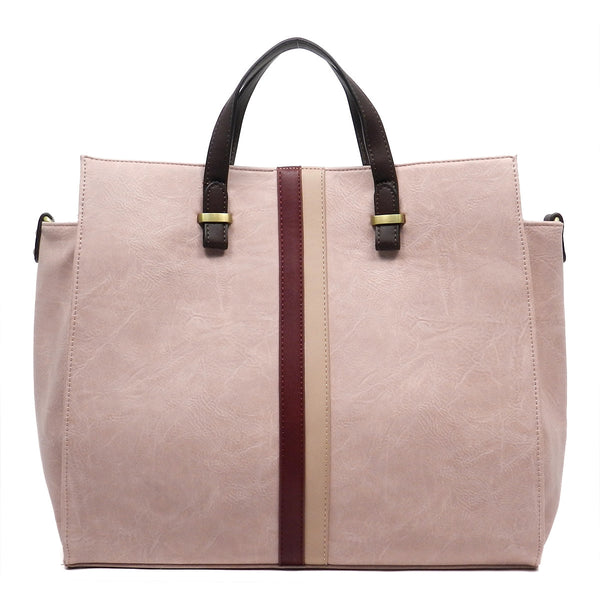 Striped Fashion Tote - Pink, Tote Handbag, Feisty Gurl - Feisty Gurl