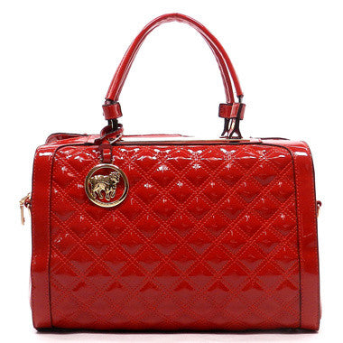 Red Quilted Boston Bag, Boston Bag Satchel Handbag, Feisty Gurl - Feisty Gurl