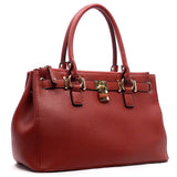 Red Textured Padlock Satchel