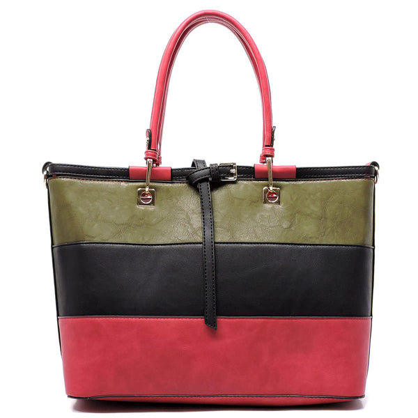 Colorblock Belted Satchel Bag Purse