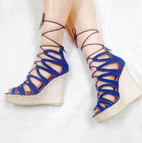 Denim Wedges, Denim Wedges Sandals Shoes, Marilyn Moda - Feisty Gurl