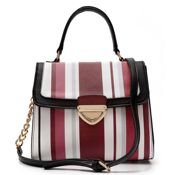 Striped Push Lock Satchel, Satchel Handbag, Feisty Gurl - Feisty Gurl