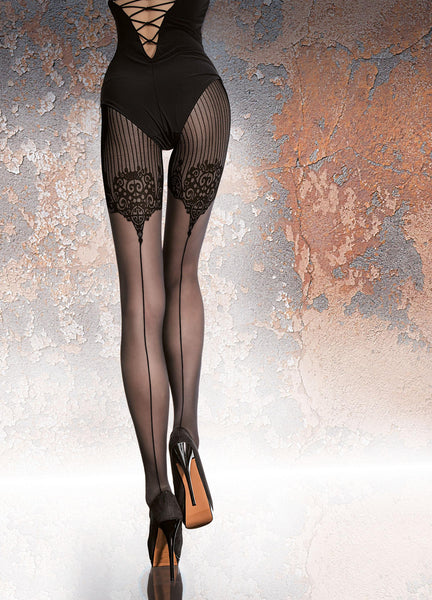 TIGHTS JO- Black - FREE SHIPPING, Women Tights Stocking Hose Leggings, Fiore - Feisty Gurl