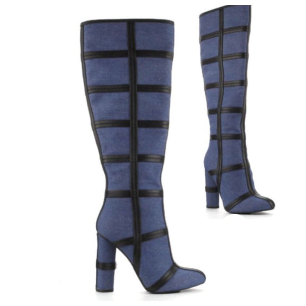 Denim Patchwork Knee High Boots