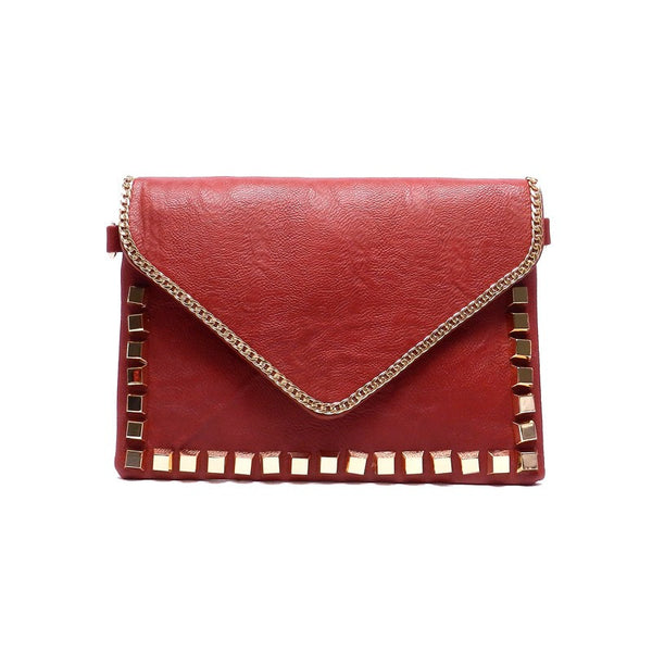 Burgundy Chain Studded Envelope Clutch Bag Purse